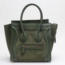 Celine Green Suede Leather Micro Luggage Tote Bag Photo