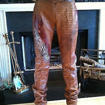 Celine Hand Painted Leather Pants Photo