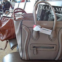 Celine High End Style Structured Tote Luggage Handbag Purse in Gray Greige Euc Photo