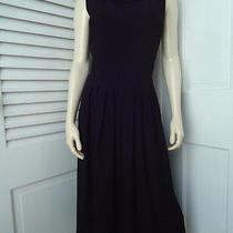Celine K Ny Paris Dress 2 Black Textured Poly Pleated Fit Flare Ruffle Neck Chic Photo