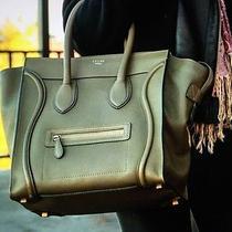 Celine Khaki Green Drummed Leather Mini Luggage Bag Photo