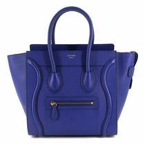 Celine Luggage Micro Shopper Hand Bag Leather Blue 167793 Purse 90117539 Photo