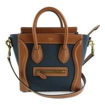 Celine Luggage Nano Shopper 2way Shoulder Crossbody Bag Canvas Leather Navy Used Photo