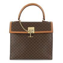 Celine Macadam Hand Bag Pvc Leather Brown Vintage Purse 90119396 Photo