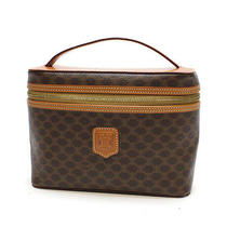 Celine Macadam Vanity Bag Cosmetics Pouch Brown Pvc X Leather 10057703 Photo