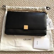 Celine Medium Flap Box Case Bag Black With Gold Chain Strap Brand New Photo
