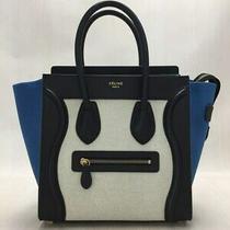 Celine Micro Luggage 167792 Handbag Blue Black Bag Ladies Photo