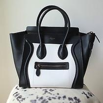 Celine Micro Luggage Bag Bicolor Leather Black and White Photo