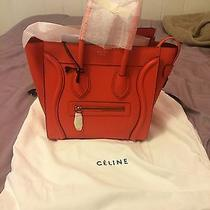 Celine Micro Luggage Drummed Leather Authentic in Vermillion Color(orange) Photo