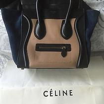 Celine Micro Luggage Tricolor Smooth Leather Suede Purse Photo