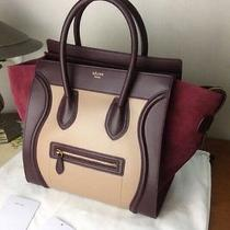 Celine Micro Luggage Tricolor Suede Tote Bag Photo