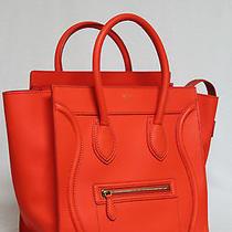 Celine Mini Bright Orange Luggage Smooth Leather Tote Bag Photo