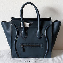 Celine Mini Drummed Leather /orage Navy Blue Display Model Nwt Photo