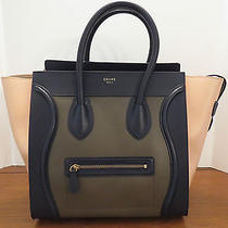 Celine Mini Luggage Anthracite Tricolor Leather New Authentic Handbag Tote Photo