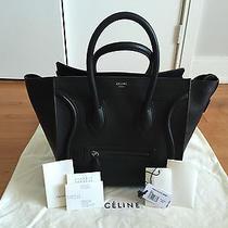 Celine Mini Luggage Black Drummed Leather Silver Hardware (W/ Receipt) // Chanel Photo
