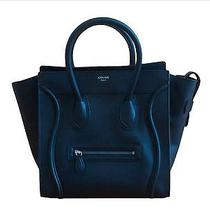Celine Mini Luggage Black Drummed Pebbled Leather Tote Bag Photo
