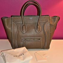 Celine Mini Luggage in Souris Gray Brown Drummed Leather Euc 3550 Authentic Photo