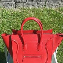 Celine Mini Luggage Red Drummed Pebbled Leather Proof of Purchase Photo