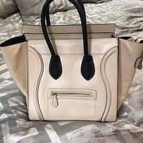 Celine Mini Luggage Tote Bag Satchel Beige Black Leather Authentic Photo