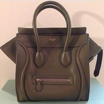 Celine Mini Luggage Tote Jungle Olive Green Drummed Leather Photo