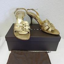 Celine Muted Gold Womens Sandal With Wood Heel Size 39.5 Photo