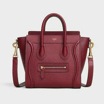 Celine Nano Luggage Calfskin Leather Shoulder Bag Burgundy Bnwt Photo