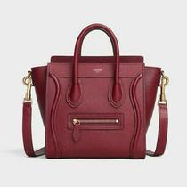 Celine Nano Luggage Calfskin Leather Shoulder Bag Burgundy Bnwt Photo