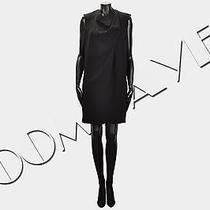 Celine Paris 1500 Sleeveless Black Silk Blend Draped Shift Dress Fr38 6 New Photo