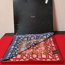 Celine Paris 2 Scarf Box Set Authentic 19.5inch Square Cotton Pink and Blue Photo