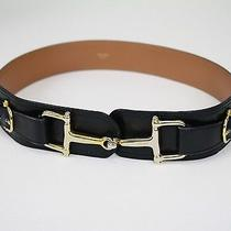 Celine Paris Authentic Black Leather Gold Tone Hardware Clasp Italy Belt Sz M-L Photo