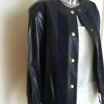 Celine Paris Authentic Designer Navy Blue Leather Jacket Made in France Photo
