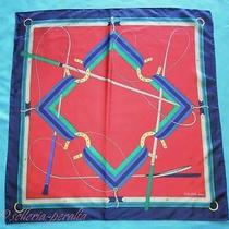 Celine Paris Designer Equestrian Pattern Foulard Roll Color Silk Scarf 31
