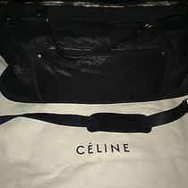 Celine Paris Navy Calf Suede Cross Body Shoulder Tote Luggage Bag 1750  Photo