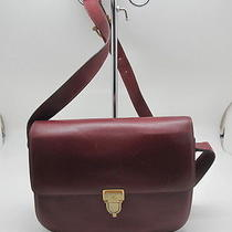 Celine Paris Vintage Shoulder Bag Leather Wine Red Authentic8587 Photo