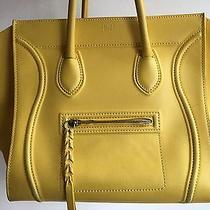 Celine Phantom Yellow Mustard Medium Luggage Leather Tote Handbag Org. 3200 Photo