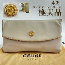 Celine  Rare 80s Vintage Se Lee Nu Leather Clutch Back White no.19571 Photo