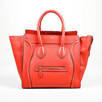 Celine Red Mini Luggage Drummed Leather Tote Bag Photo
