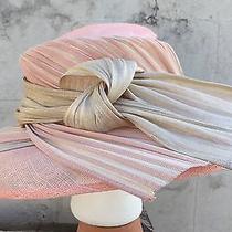 Celine Robert Design France Pink Beige Tan Big Straw Hat Kentucky Derby Church Photo