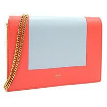 Celine Shoulder Bag Frame Evening Clutch Red Gray Lambskin Used Shawl Diagonal Photo