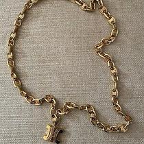 Celine Signed Macadam Logo Charm Necklace - Xl Gold Metal - Vintage 80's - Mint Photo
