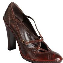 Celine sz7.5 Mahogany Leather Tooled Scrappy Pumps 660 Italy Photo