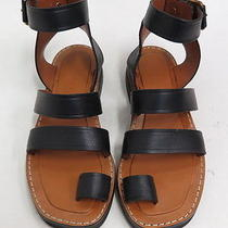 Celine Toe Ring Chunky Gladiator Sandal Black Leather Size 37 Worn Once Photo