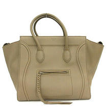 Celine Tote Handbags Luggage Phantom Calfskin Leather Taupe Brown 16995 Photo