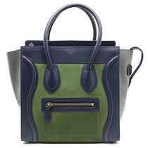 Celine Tri Color Leather & Suede Micro Luggage Tote Photo
