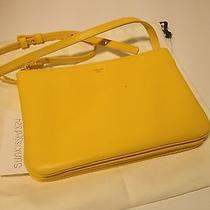 Celine Trio Leather Crossbody Shoulder Messenger Bag Pouch Clutch Yellow  Photo