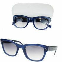 Celine Used Sunglasses Blue Black Plastic With Case 01ez209 Photo