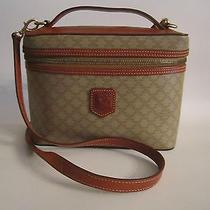 Celine Vanity/makeup Case Travel Bag With Shoulder Strap Beige Dm96 Photo