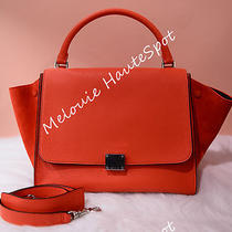 Celine Vermillion Small Trapeze Red Pebbled Suede Red Orange Leather Tote Bag Photo