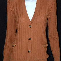 Celine Vintage Camel Brown Wool Cable Knit Cardigan Sweater 42 Photo