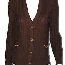 Celine Vintage Dark Brown Wool Cable Knit Cardigan Sweater 42 Photo